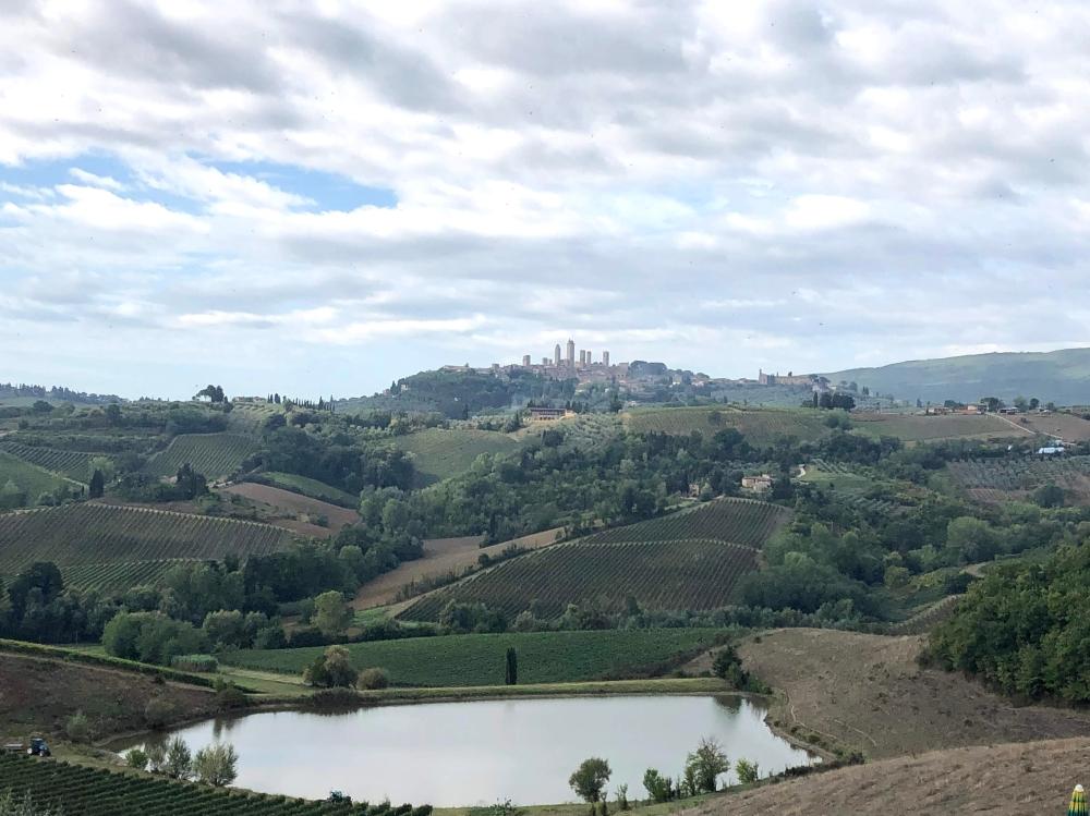 San Gimignano view from Fattoria Poggio Allora